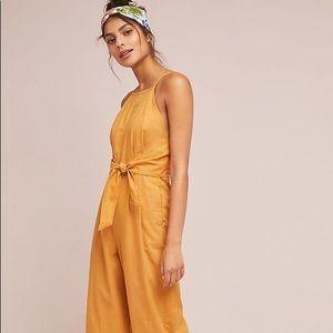Anthropologie Graylin Linen Yellow Jumpsuit